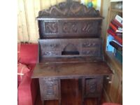 Highly unusual antique writing desk