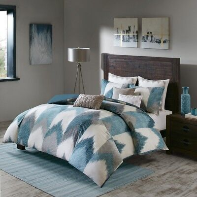King/Cal King Alpine 3 Piece Comforter Mini Set Pine, Cotton Blue Green INK+IVY