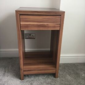 REDUCED TO SELL: 2 X walnut effect and black gloss side tables with drawer