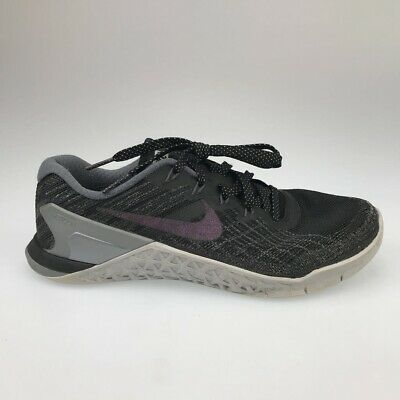 Nike Womens Metcon 3 Running Shoes Black Metallic 922880-001 Laces Low Top 7.5 M