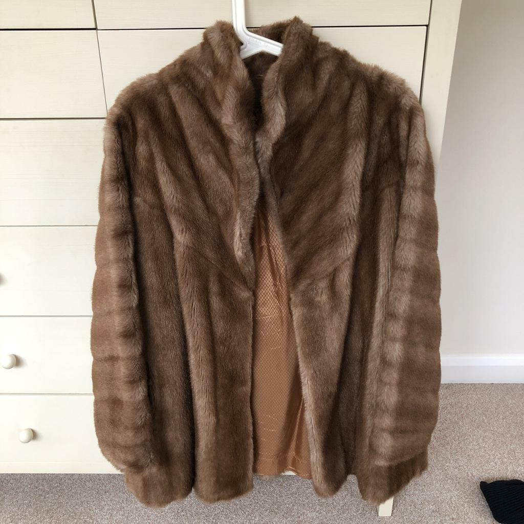 3fa01d2481 Vintage light brown faux fur jacket coat size medium. Long Ashton ...