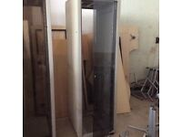 Grey Metal Server Cabinet & Glass Door