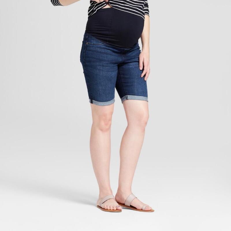 TARGET Isabel Maternity Bermuda Denim Jean Shorts Dark Wash Crossover Panel NEW!
