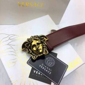 Medusa matte gold dark red smooth sued inner leather belt versace superb gift