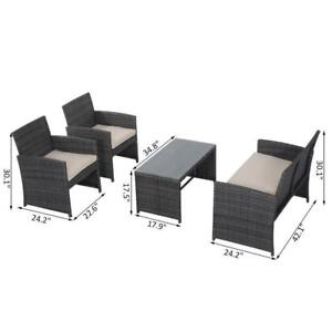 4Pcs Rattan Sofa Set Patio Wicker Furniture Garden Lawn Chair W/Table / Brand New in Box NO TAX