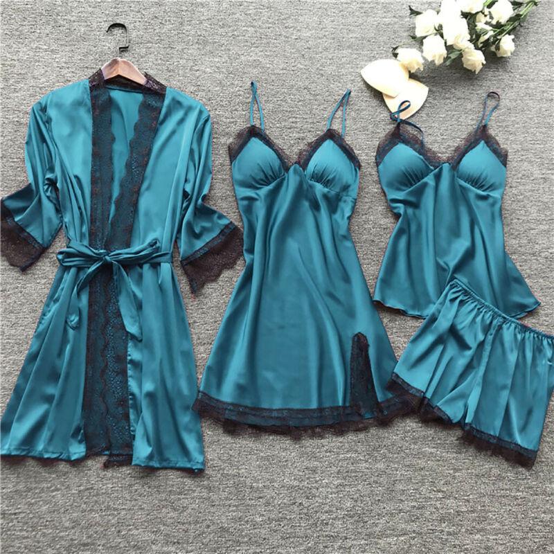 4Piece Lingerie Women Silk Robe Babydoll Sleepwear Nightdress Pajamas Set