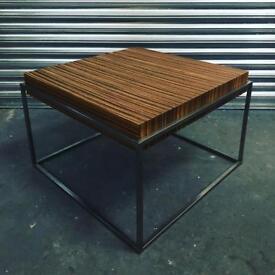 Zebrano and chrome coffee table. Very retro Italian 70's piece.