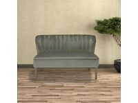 VELVET, 2 SEATER SOFA, CURVED SIDES, GREY. NEW BOXED, TO CLEAR