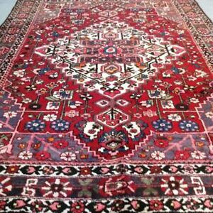 Bakhtiari Antique Persian Rug, Handmade Carpet, Wool, Red, Brown, Blue, Pink and Green Size: 10.1 X 7 ft