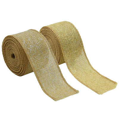 2x 5 Meters Jute Hessian Burlap Ribbon with Net Mesh Wrap for Christmas 50mm](Jute Netting)