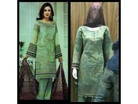 Pakistani Designers Inspired Embroidered Lawn Suit, Fully Stitched. Sizes M/XL (JZ06), EID 2018 Sale