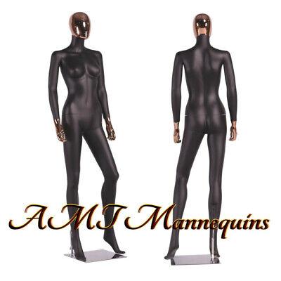 Female Full Body Mannequinrose Golden Head High End Painted Black Mannequin