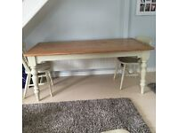 Large shabby shic restored table.