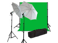 Chromakey Studio Light Kit with Backdrop Green Screen Background 3 metres x 6 metres