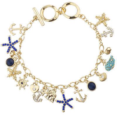 Lux Accessories Gold Tone Nautical Sea Life Starfish Starfish Charm Necklace