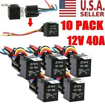 10 Pack 12v 3040 Amp 5-pin Spdt Automotive Relay W Wires Harness Socket Set
