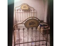 Vintage French Gold Metal Bed Frame Retro Style Single Sized Bed Vintage Design on Head Rests