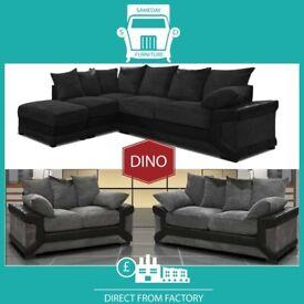 🙍New 2 Seater £229 3 Dino £249 3+2 £399 Corner Sofa £399-Brand Faux Leather & Jumbo CordේM1
