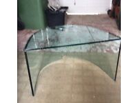 Bent glass tv stand