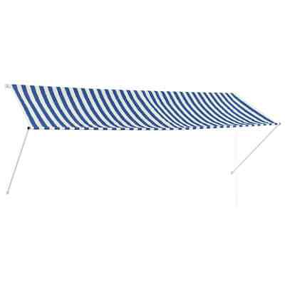 vidaXL Retractable Awning 350x150cm Blue and White Canopy Shade Sun Screen