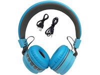 Blue Bluetooth wireless Foldable Folding Over Headphones for iPod iPad iPhone