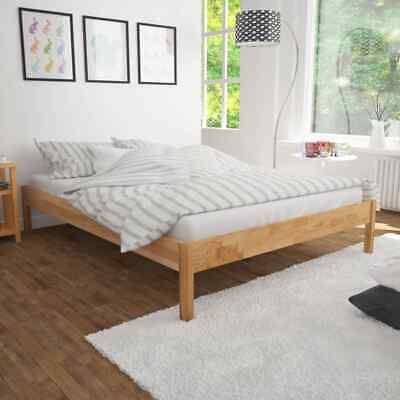 vidaXL Solid Oak Wood Bed Frame Queen Home Bedroom Furniture