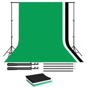 2.6X3M Photo Lighting background Frame/ Photo Lighting Backdrop Kit with Green Black White Backdrops) Ship Accross Canad