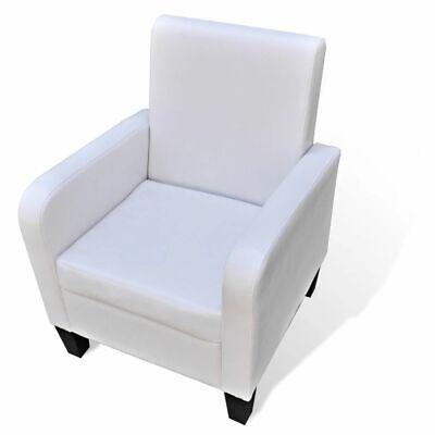vidaXL Sillón de Salón Elegante de Madera y Cuero Artificial Blanco Asiento