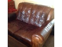 Leather 2 seater sofa / couch / settee