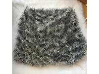 Grey Women Lady Loose Knit Neck Circle Cowl Warmer Scarf Shawl Wrap Loop Winter