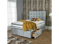 ☀️☀️LIMITED STOCK OFFER☀️☀️CRUSHED VELVET DIVAN BED BASE SINGLE/DOUBLE/KING SIZE DIFF MATTRESSES