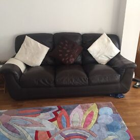 3 seater and recliner leather sofa