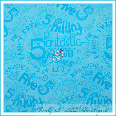BonEful Fabric FQ Cotton Quilt VTG Blue Girl Boy 5 Year Old