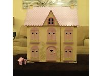 Rosebud Cottage Dolls House, Furniture and People. ELC. Pink and yellow. Quality Made.