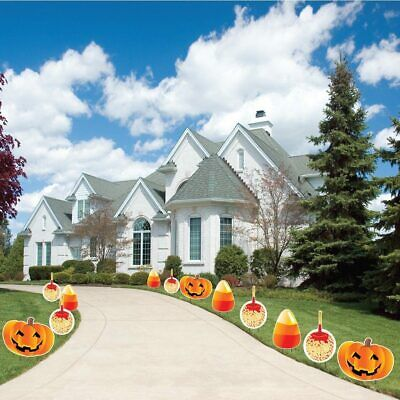 Halloween Pathway Markers Apples Pumpkins & Candy Corn Yard Decorations - FREE S - Decorated Candy Apples Halloween