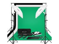 CRAPHY 250W Photo Studio Umbrella Continuous Lighting Kit with Photography Backdrop Kit