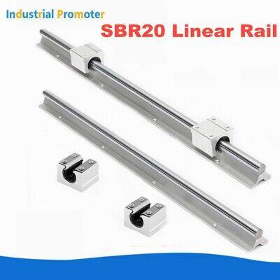 2X SBR20 300-1500mm Fully Supported Linear Rails Shaft Rod & 4X SBR20UU US Stock