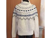 Ladies M&S White Sweater Sweet Blue Knit Embellished Cardigan Size 8 UK