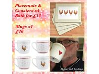 Mugs, placements, Coasters