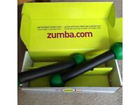 Zumba Fitness Work Out hand weights / dumbbells in original box. As-new condition.