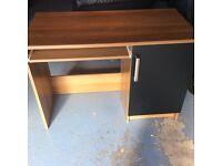 Walnut and black computer desk.