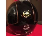 BRAND NEW BLACK/GOLD ARAI FREEWAY CAFE RACER JET MOTORCYCLE HELMET!!!(M)