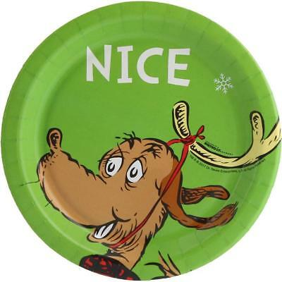 Dr Seuss Nice Christmas Dessert Cake Plates 8 Count Party Supplies - Nice Paper Plates