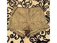 Top Shop gold & black high waisted shorts BNWT S 8 Zara style H&M LV MK