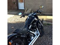 Harley softail slim fo sale in black gloss, stage one tune VH pipes, Corbin leather seat 6500mls