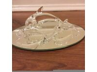 Trio Of Glass Dolphins On Mirrored Base