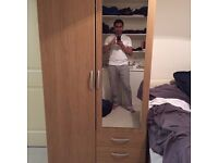 2 Door 3 Draw Wooden Cupboard with large mirror (50 pounds)