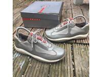 Prada patent grey/silver trainers size 3.5