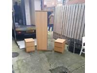 beech wood mirrored wardrobe and 2 matching lockers