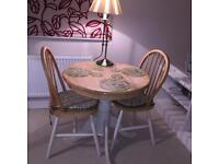 Bistro kitchen wooden breakfast/dining table and chairs for two